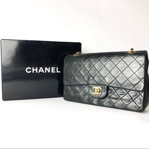 Chanel Double Flap Black Bag with Gold Turn Lock